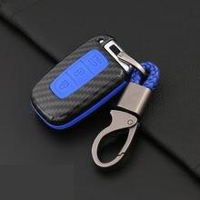 غطاء حماية لمفتاح السيارة من ألياف الكربون المصنوع من السيليكون لهيونداي سولاريس HB20 Veloster SR IX35 Accent Elantra i30 For KIA RIO K2 K3 sporage