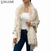 LOGAMI искусственный меховой воротник кардиган пончо с кисточками однотонное пальто Женская Повседневная Свободная шаль