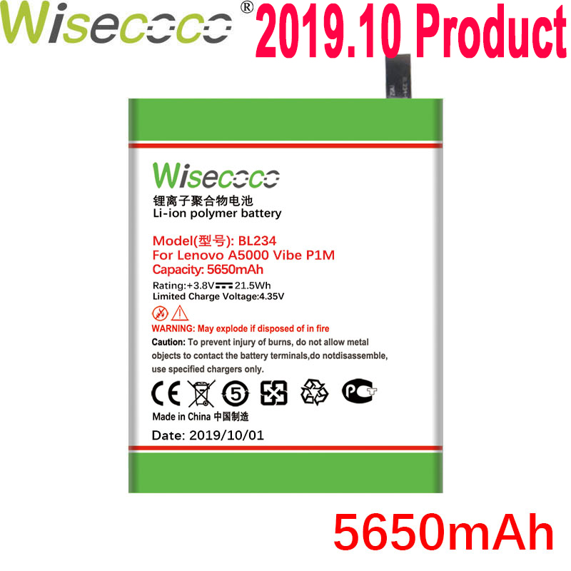 WISECOCO 5650mAh BL234 <font><b>Battery</b></font> For <font><b>Lenovo</b></font> <font><b>A5000</b></font> Vibe P1M P1MA40 P70 P70t P70-T P70A P70-A Mobile Phone With Tracking Number image