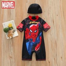 Disney 2021 New Children's Swimsuit One-piece Swimsuit Cartoon Boy Spiderman Swimsuit Iron Man Swimsuit Wholesale