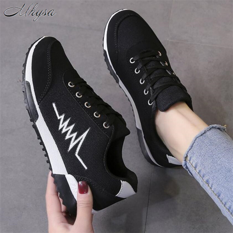 Mhysa 2020 Women Shoes Sneakers For Women Breathable Walking Women Vulcanized Shoes Flyknit Casual Shoes Flat Tenis Feminino