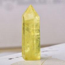 Ornamento bonito da varinha de quartzo amarela do obelisco da coluna da cura do citrino do ponto de cristal natural para a pedra da energia de reiki da decoração casa