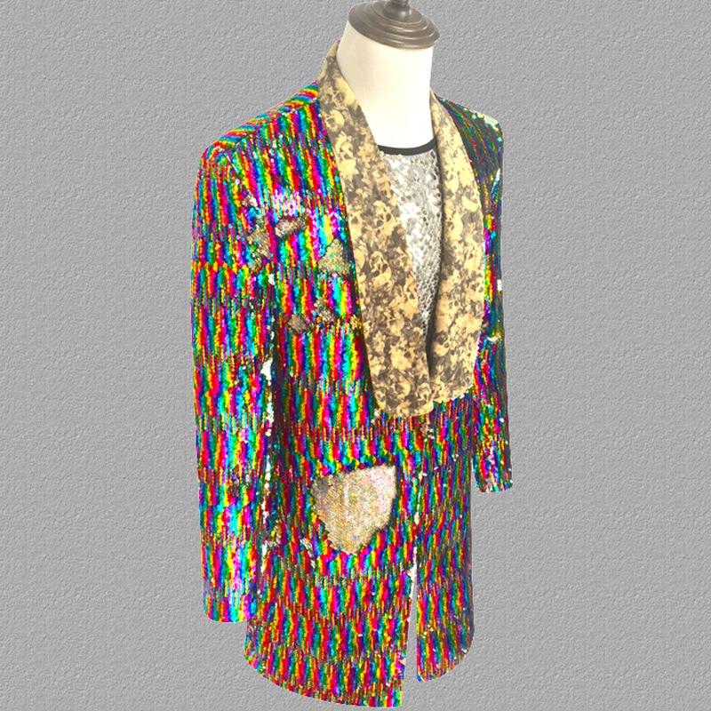 Long Laser Sequins Blazer Jacket Men Glitter Magician Sequin Mens Dress Costume Stage Party Singer Wedding Groom Suit Jacket 3XL - 3