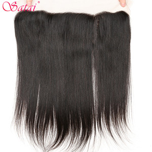 Image 4 - Satai extensão do cabelo em linha reta feixes de cabelo com fechamento 100% não remy feixes de cabelo humano com fecho cabelo peruano pacotes