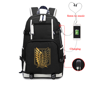 Anime Attack on Titan Luminous Backpack USB Charge Laptop Backpack School Bags for Teenage Boy Backpack Travel Shoulder Bags hot style canvas drawstring bags animation jojo bizarre adventure assassin s creed attack on titan gravity falls backpack bag