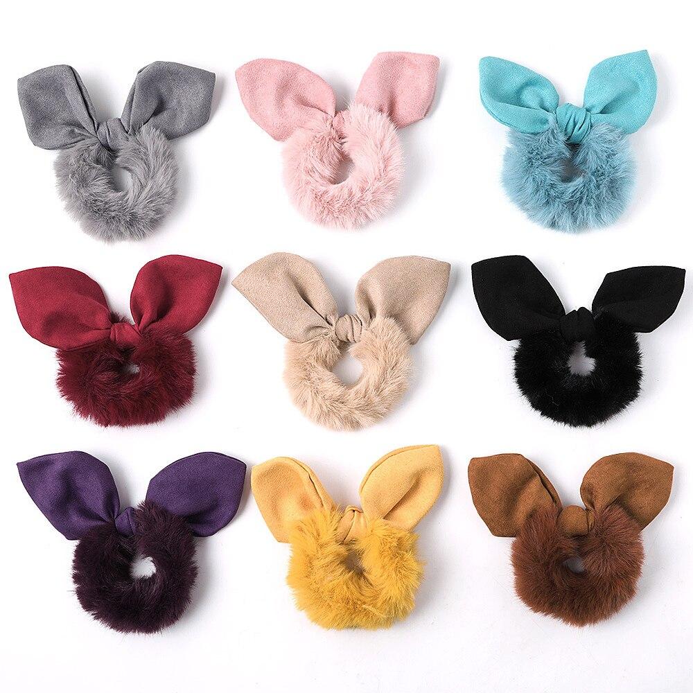 Fashion New Plush Rabbit Ears Scrunchie Women Girls Elastic Hair Rubber Band Accessories Tie Hair Ring Rope Holder Headdress