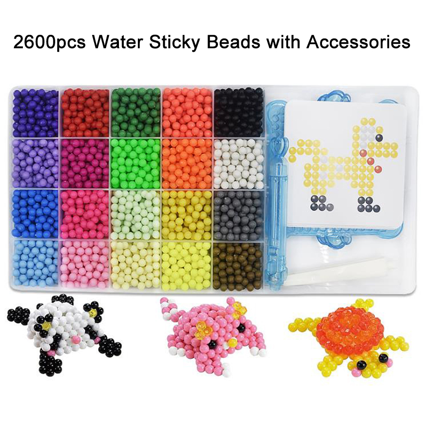 DOLLRYGA 2600pcs/set DIY Magic Beads Animal Molds Hand Making 3D Puzzle Kids Educational Beads Toys For Children Spell Replenish