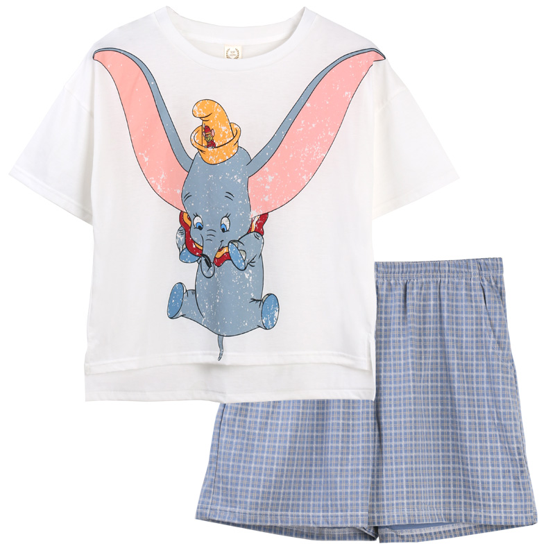 Women Summer cotton short sleeved cartoon pajama sets  t -shirt with shorts girls home wear clothes two pieces suit  sleepwear