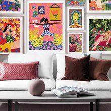 Moda colorida menina gato minimalista arte da parede pintura da lona nordic cartazes e impressões fotos de parede para sala estar decoração