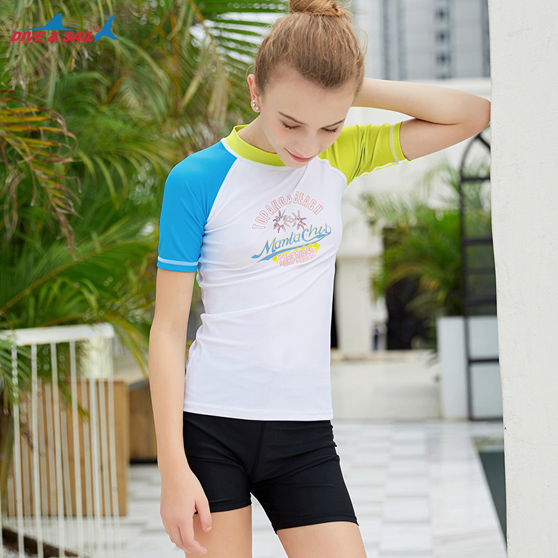 New Style KID'S Swimwear Sun-resistant Teenager Split Type Diving Suit Women's Big Boy Short Sleeve Quick-Dry Drifting Snorkelin