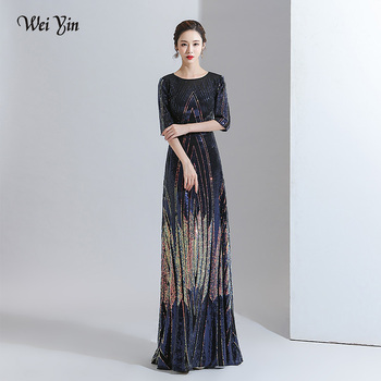 wei yin AE0291 Evening Dress Sequins A Line Half Sleeves Formal Dress Evening Party Gown Occasion Dresses Robe De Soiree