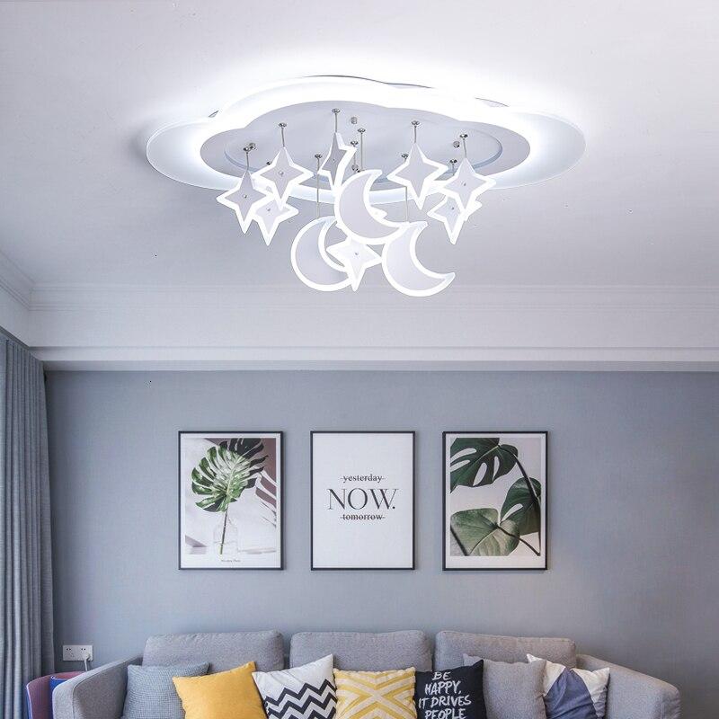 Creative Star Moon Pendant Modern LED Chandelier For Bedroom Kids Room Light Children's Room Ceiling Led Chandelier Lighting