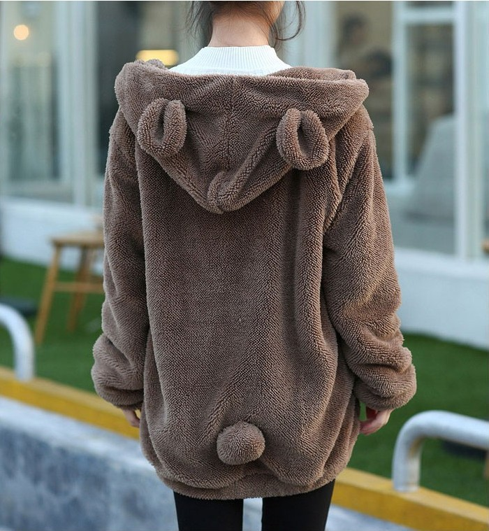 Manufacturers Direct Selling Korean-style Bear Bunny With Ear And Tail Cartoon Plush Velvet Jacket Hoodie Women's