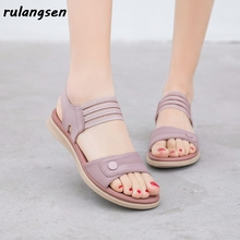 Ladies Sandals Shoes Slippers Seaside T-Strap Plus-Size Beach Summer American European