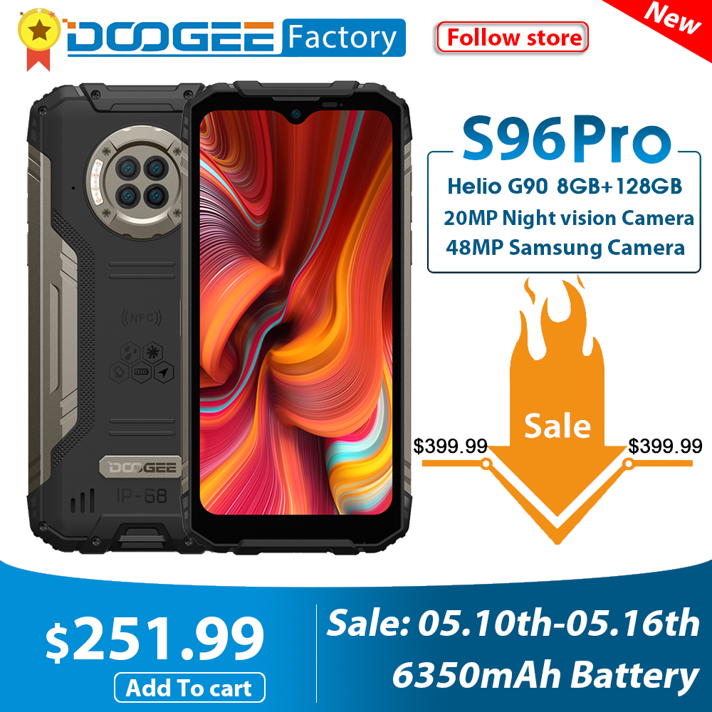DOOGEE Helio G90 S96 Pro Smartphone 48MP 128GB WCDMA/GSM/LTE Nfc Adaptive Fast Charge