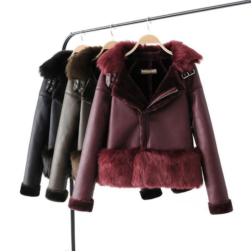 Streetwear Style Faux   Leather   Jacket Women Slim Long Sleeve Patchwork Fur Liner Warm Thick Short Leahter Coat Ladies Outerwear