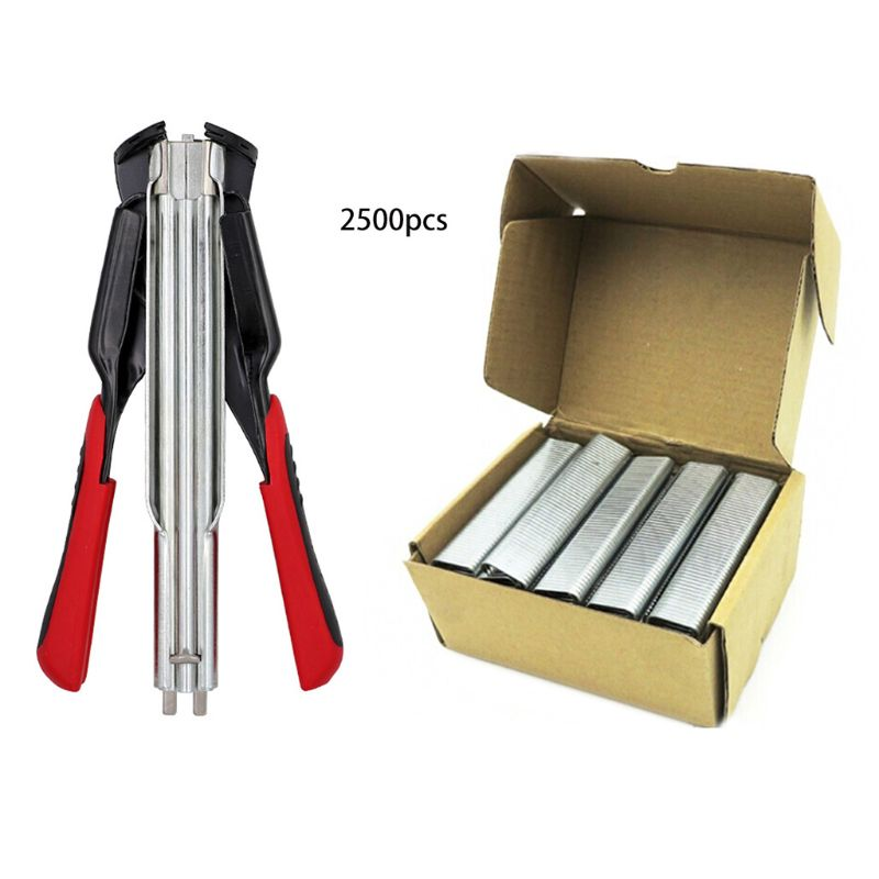 Poultry Cage Clamp Hog Ring   SR8 Hog Ring Gun & C Type 2500 Stainless Steel C Clips Cage Fencing Nailer Pliers 24BA