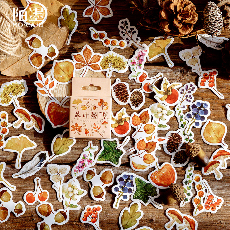 46pcs Boxed Stickers Bullet Journal Falling Leaf Series Vintage Green Plant Sticker Flakes Scrapbooking Label Girl Diary Sticker