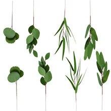 Xin ou grego 3d eucalipto de dupla face única garrafa eucalipto folhas pacote de estilo europeu decoração