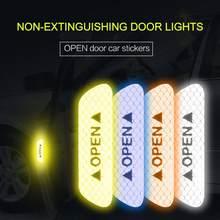 4 pçs adesivos de carro segurança anti-colisão aviso reflexivo aberto adesivos de papel reflexivo decorativo auto porta adesivos