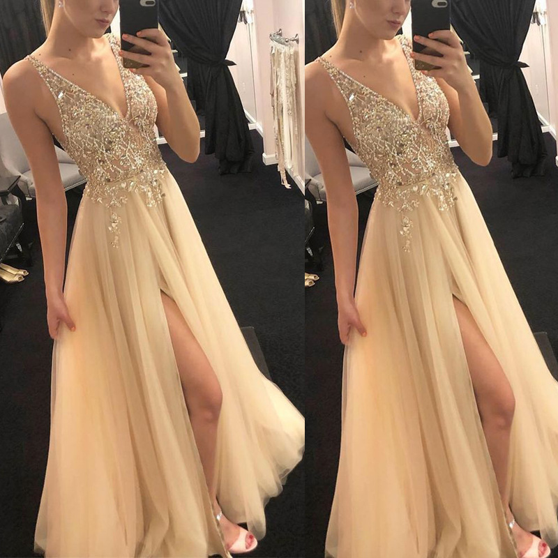 YULUOSHA 2020 Sexy Evening Gowns Sequined Appliques Backless V-Neck Sleeveless Formal Dress Women Elegant Robe De Soiree