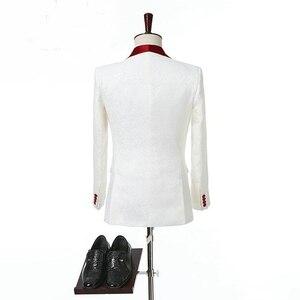 Image 3 - 아이보리 더블 브레스트 웨딩 턱시도 신랑을위한 레드 목도리 옷깃 두 조각 맞춤 제작 정장 남자 정장 (자켓 + 바지)