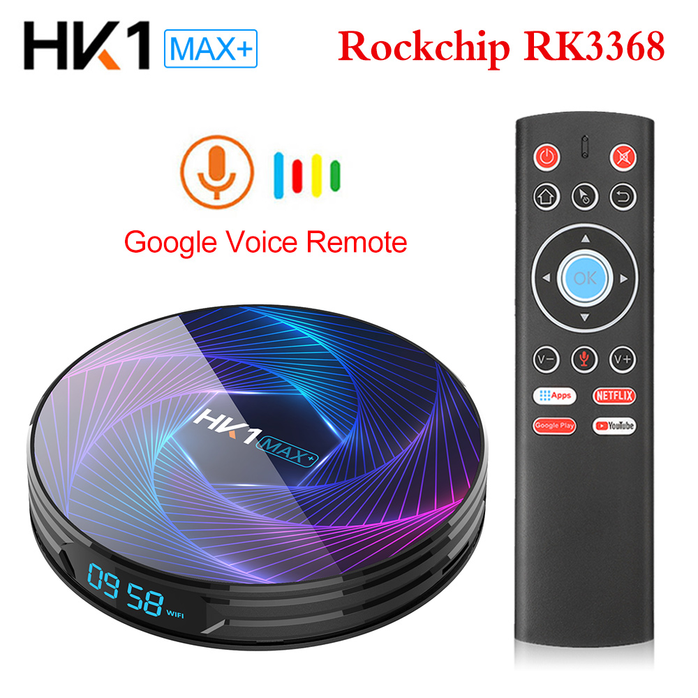 HK1 MAX Plus Octa Core Android 9.0 Smart TV Box 4GB 128GB 64GB 32GB RK3368PRO 1080P H.265 4K youtube Netflix HK1MAX décodeur