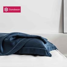 Sondeson Luxury Beauty 100% Silk Dark Blue Pillowcase Embroidery 25 Momme Silky Healthy Skin Hair Pillow Case For Women Men Gift