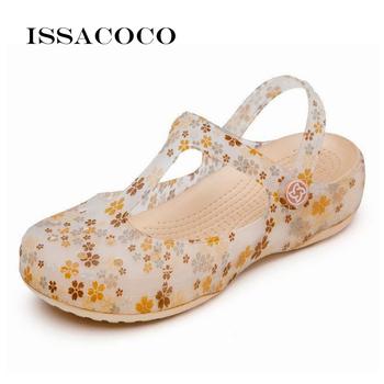Sandały damskie pantofle letnie płaskie sandały plażowe buty sandały na platformie galaretki buty sandały Crocse buty ogrodowe buty na plażę tanie i dobre opinie issacoco CN (pochodzenie) sandały kąpielowe Klinowe NONE Pokryte RUBBER Med (3 cm-5 cm) Na co dzień Wsuwane Dobrze pasuje do rozmiaru wybierz swój normalny rozmiar