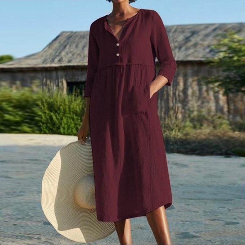 Linen Summer Dress Women Three Quarter Casual Pocket Woman Dress Solid A-Line Ruffles Dresses for Women 2021 robe femme 5
