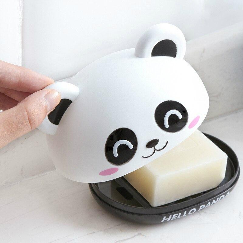 Cute Panda Soap Box Holder With Cover Bathroom Storage Shelves Racks Floor Type Kitchen Sponge Drain Holder Accessories Supplies