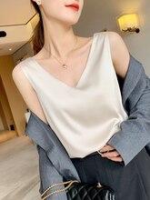 2021 novas blusas femininas verão chiffon com decote em v plus size cetim escritório preto mulheres túnica elegante camisas de seda sling colete mulher topo