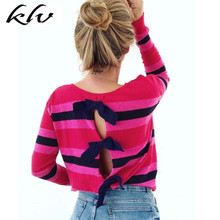 Women Autumn Long Sleeve Back Bow-Tie Knit Round Neck T-Shirt Top Casual frilled tie neck petal sleeve top
