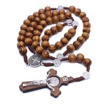 Moda Handmade okrągły koralik katolicki różaniec krzyż religijne drewniane koraliki mężczyzn naszyjnik z amuletem prezent tanie i dobre opinie CN (pochodzenie) Drewna