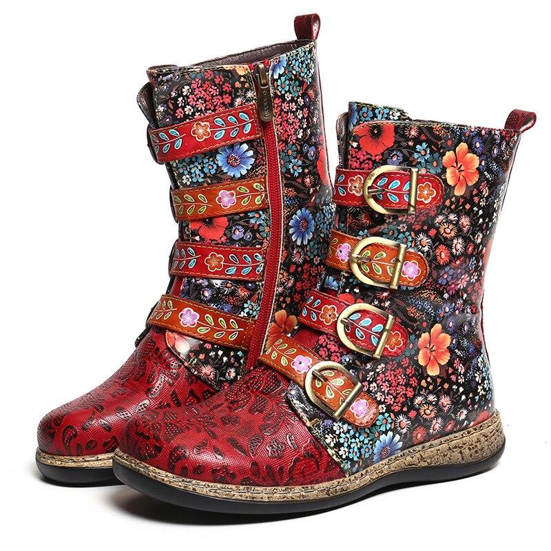 Дизайнерские женские Лоскутные ботильоны из натуральной кожи с пряжкой; модная зимняя теплая Байкерская обувь с флисовой подкладкой - 4