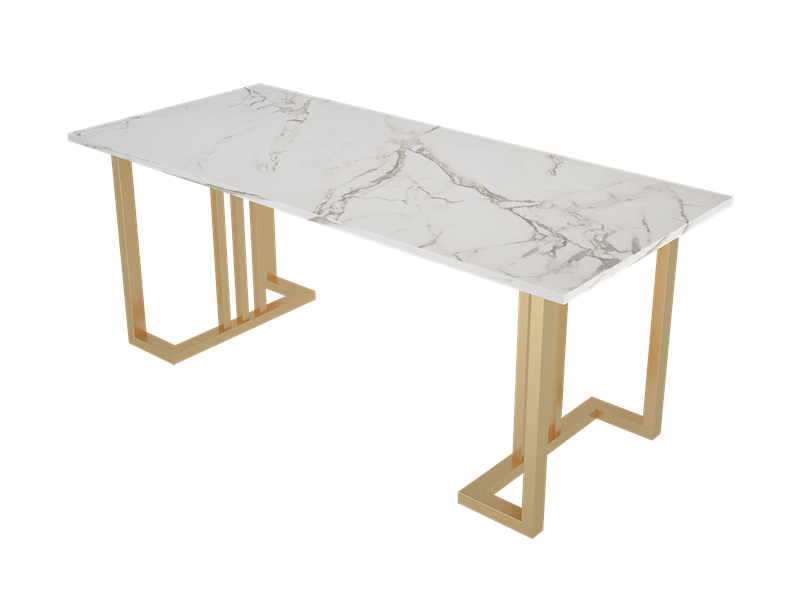 Nordic Light Luxury Marble Dining Table Art Metal Home Coffee Shop Desk...