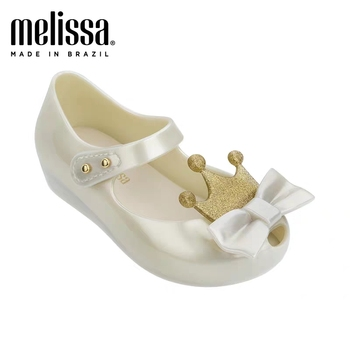 Mini Melissa Ultragirl 2020 Original Girl Jelly Sandals Crown Kids Sandals Children Beach Shoes Non-slip Melissa Toddler 13-18CM image