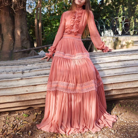 Patchwork Ruffles Pleated Dresses Women Autumn Pink Long Sleeve Maxi Female Dress Elegant Party A Line Vestidos Women