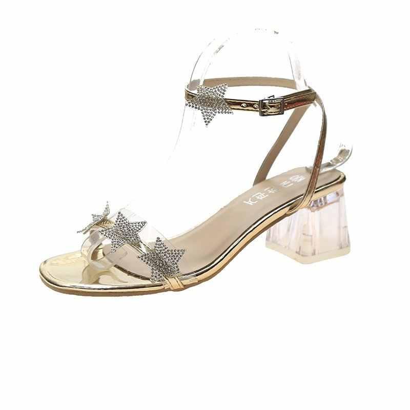 2020 phụ nữ Xu Hướng Giày Sandal Mùa Hè Mới Mở Mũi Từ Khóa Giày Sandal Nữ Thời Trang Hàn Quốc Dày Gót Với 34-44 Kích thước