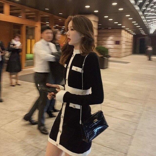 QWEEK Knitted One-piece Dress Korean Fashion Winter White Women Knit Bodycon Dress Elegant Long Sleeve Dress Knitwear For Women 3