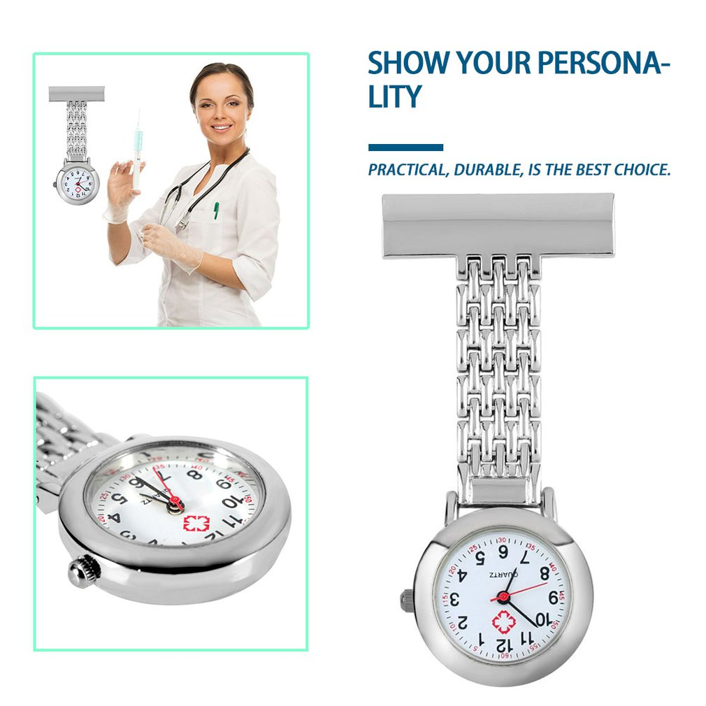 Nurse Pocket Watch Stainless Steel Arabic Numerals Quartz Brooch Doctor Fob Watches Unique Portable Useful Simple