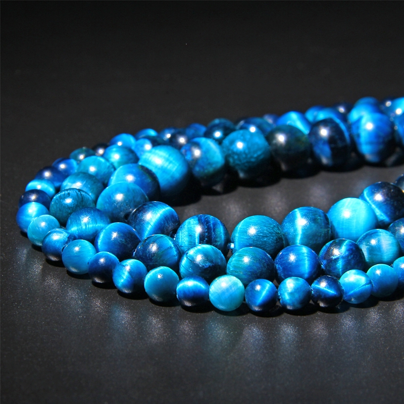 Beads Jewelry Making-Bracelet Natural-Stone Tiger-Eye Royal-Blue for 15inch Pick-Size title=