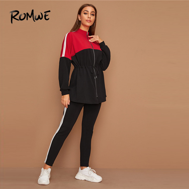 ROMWE Drawstring Waist Colorblock Coat And Joggers 2 Piece Set Tracksuit Women Fall Spring Activewear Outfits Casual Sweatsuits