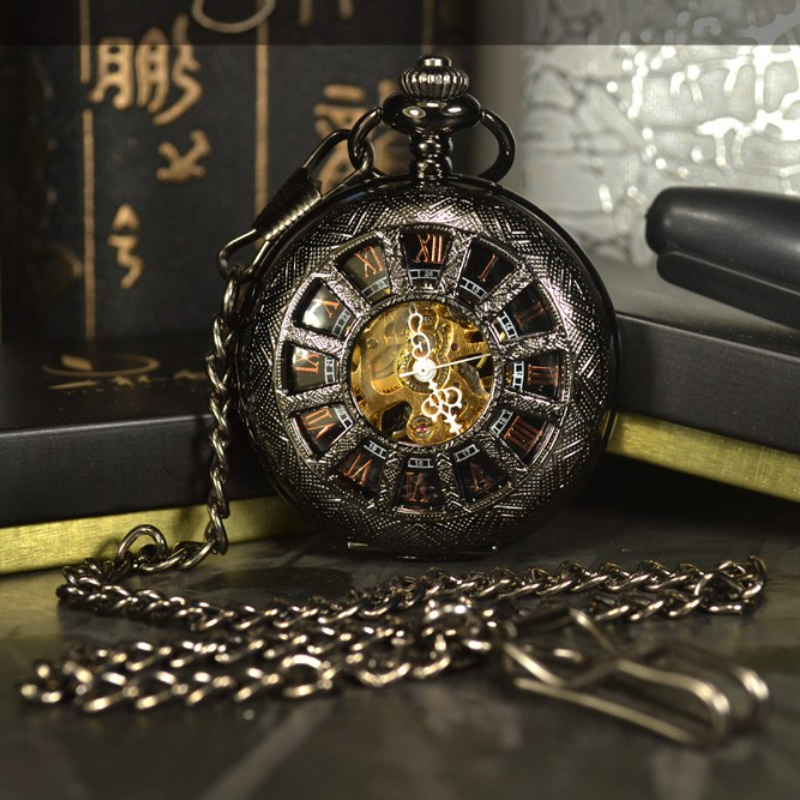 New 2021 Antique 1pcs/lot Steampunk Hollow 4.5cm Hand Wind Mechanical Pocket Watch Black for Mens Womens Necklace Chain Wedding