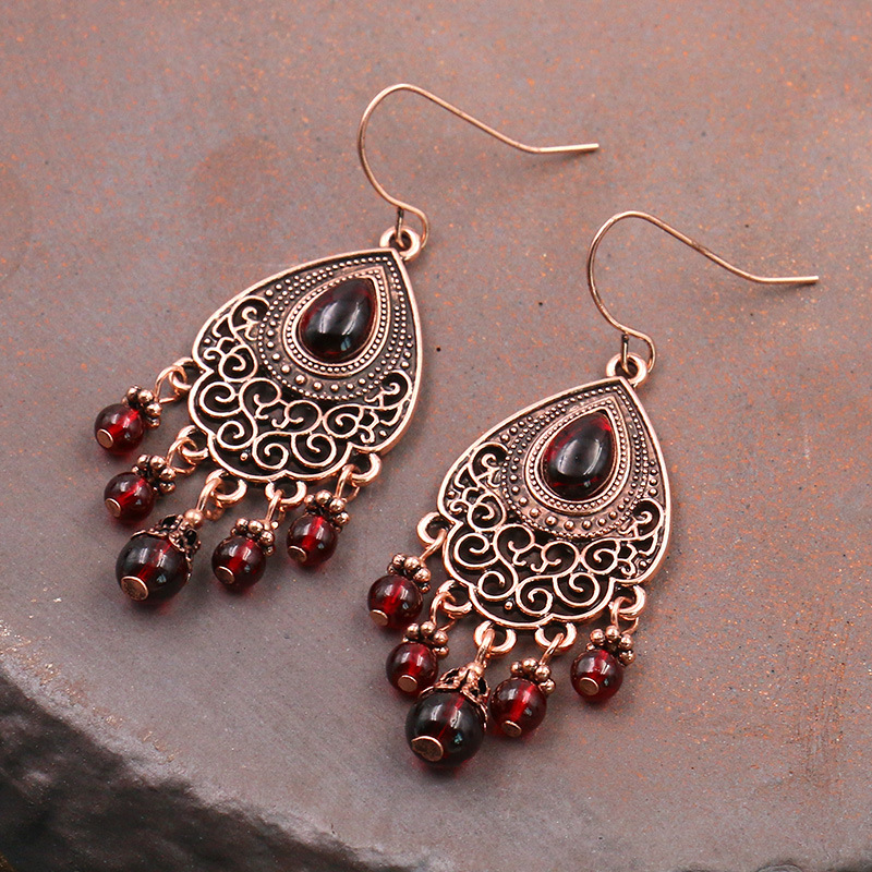 Luokey antigo boho brincos de gota para as mulheres vermelho oco feminino aniversário borla brincos indianos pendurado orelha acessórios jóias