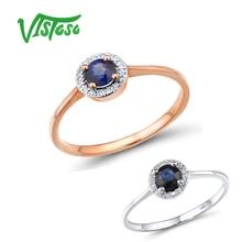 VISTOSO זהב טבעות לנשים טהור 14K 585 רוז זהב טבעת יהלום נוצץ עגול כחול ספיר יוקרה נישואים תכשיטים