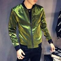 Men Sharp Jaquetas Masculino Fancy DJ Club Outfit Bomber Homme Shinny Black Blue Silve Green Jacket Men Slim Fit BomberJacket