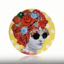 Флора Lina лицевая пластина винтажная иллюстрация подвесная декоративная тарелка керамическая круглая голова человека и Цветочная тарелка