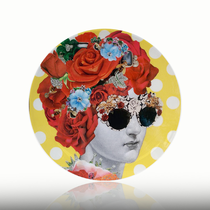 Flora Lina Face Plate Vintage Illustration Decorative Hanging Plate Ceramic Round Human Head And Flower Dish Figure Plate