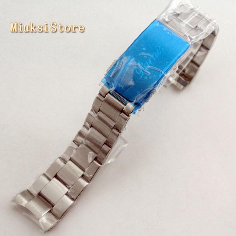 Parnis superior 20mm plata acero pulsera correa de reloj ajuste Parnis 40mm reloj Correa de cuero para mi band 4 3, correa de pulsera de Metal para xiaomi band 4, pulsera deportiva transpirable para mi band 4, pulsera xiaomi